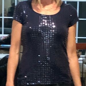 Whbm blue jeweled sparkly top
